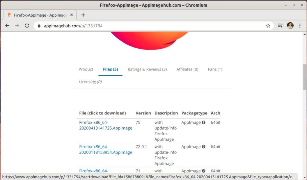 Download AppImage builds from AppImageHub