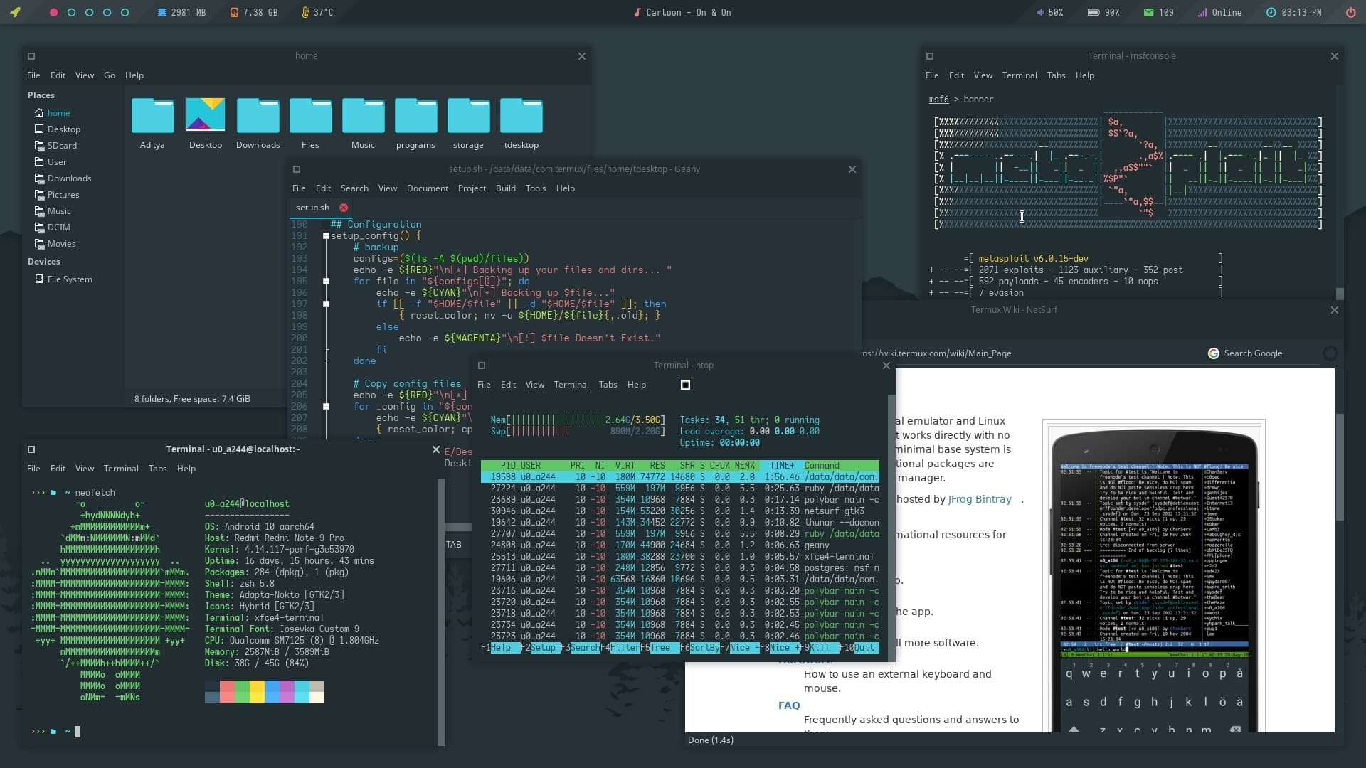 Full desktop running on Android with the help of Termux Desktop