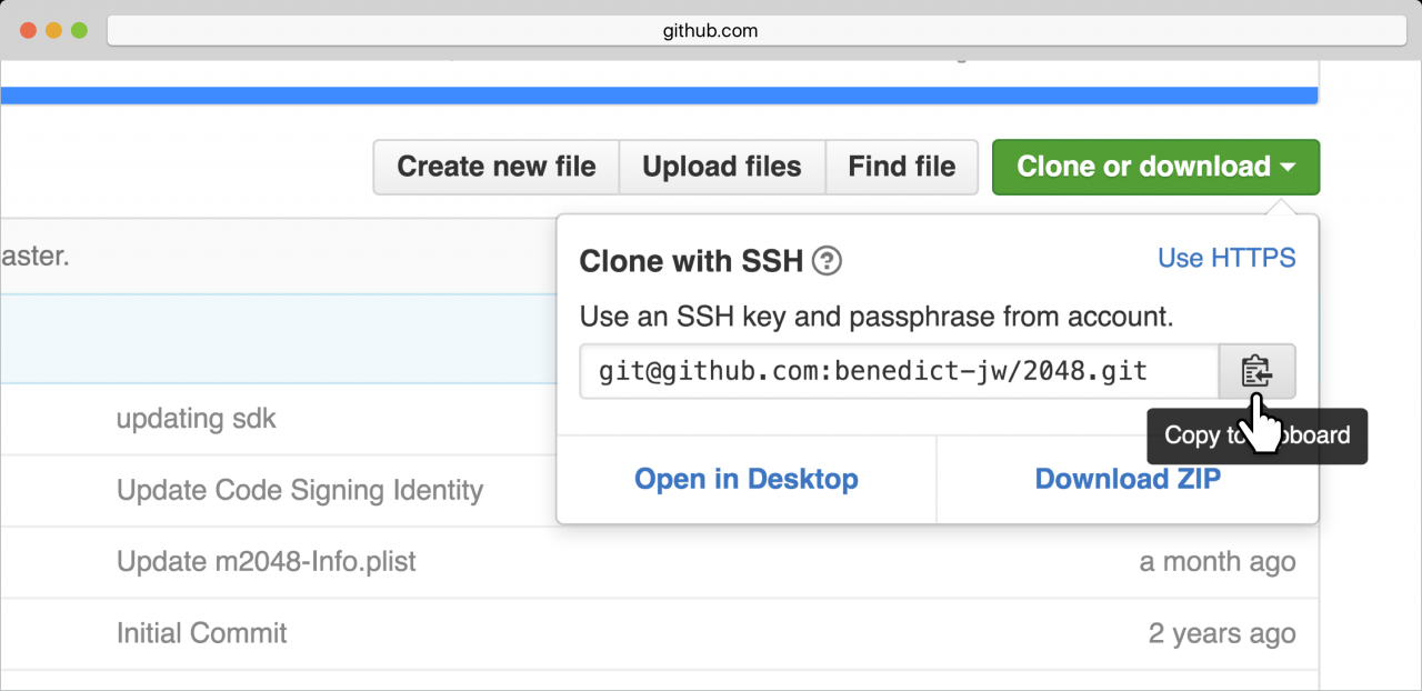 Clicking the Copy to clipboard button on the GitHub project screen